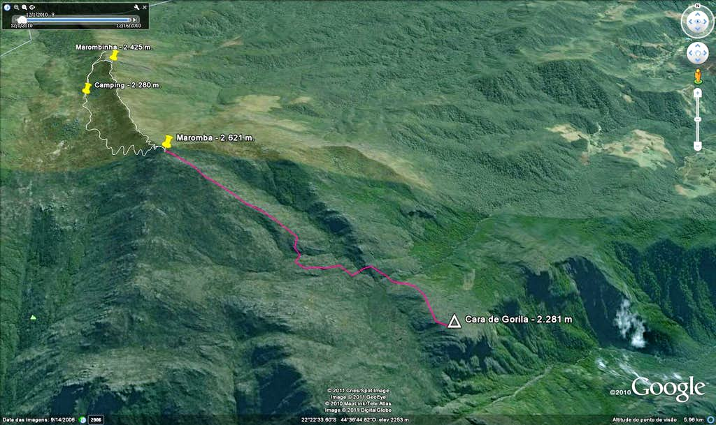 Sat view of Gorila Peak