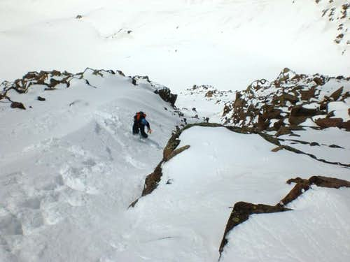Skiing above the Crux Section