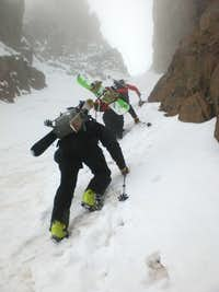 Climbing the East Couloir
