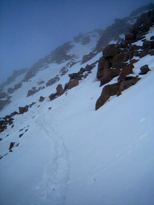 Looking up at Eolus\'s Summit from the top of the East Couloir