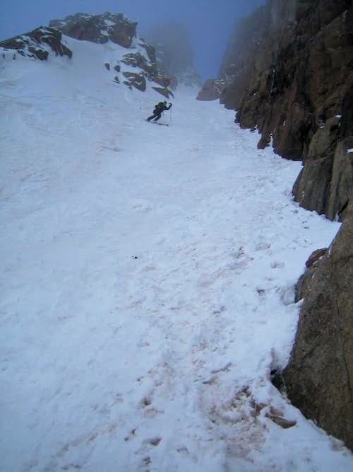 Skiing the East Couloir on Mt. Eolus