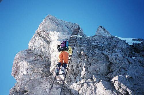 A ladder on the Hindelanger Klettersteig