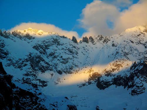 Early morning play of light on the Aiguilles
