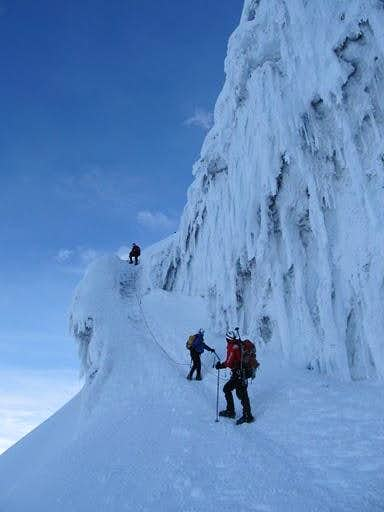 Climbing an ice face
