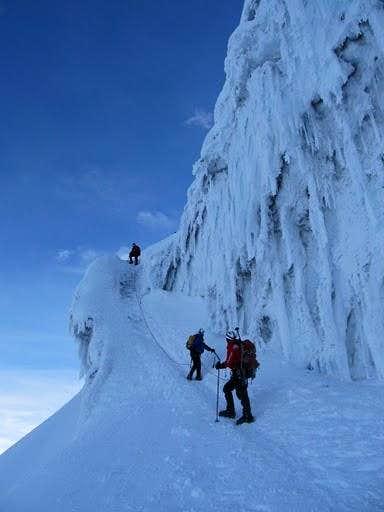 Climbing an ice face