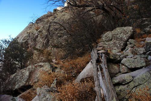 Approaching the rock rib