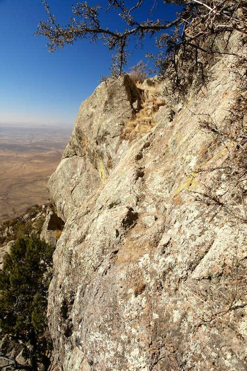 Traverse on the second rock rib