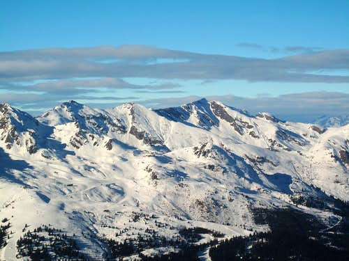 The crest separating the valleys of Rauris and Gastein, in soft late afternoon light