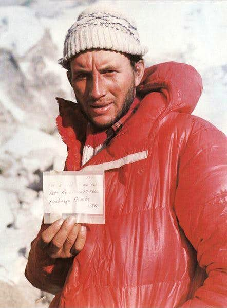 Leszek Cichy presents the note which Ray Genet left on top of Mount Everest in 1979