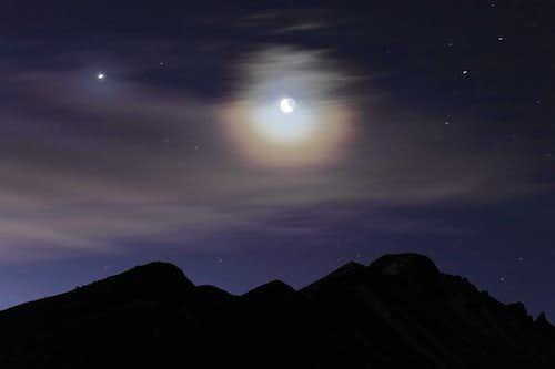 Longs Peak and Moon