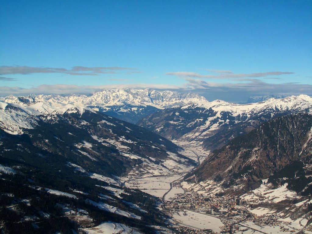 View down the Gastein valley to Hochkönig (2941m) and Berchtesgaden Alps