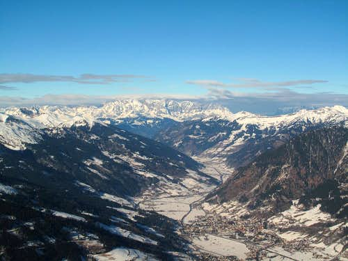 View down the Gastein valley to Hochkönig (2941m) and Berchtesgaden Alps
