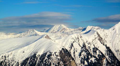 Winter view to Weisseck (2711m), the highest peak of the Radstädter Tauern