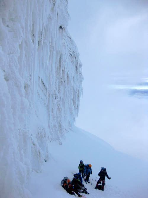 A few groups waiting below the crux on Cotopaxi