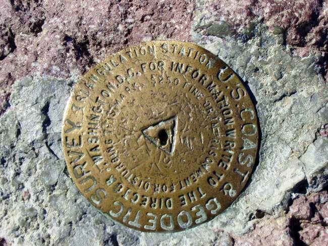 usgs marker on summit, a...