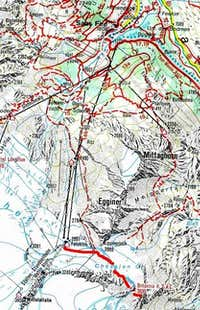Access map to Britannia Hut