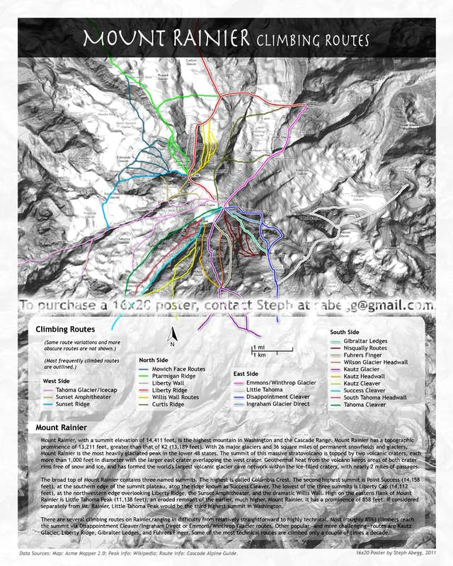 Mt. Rainier climbing routes