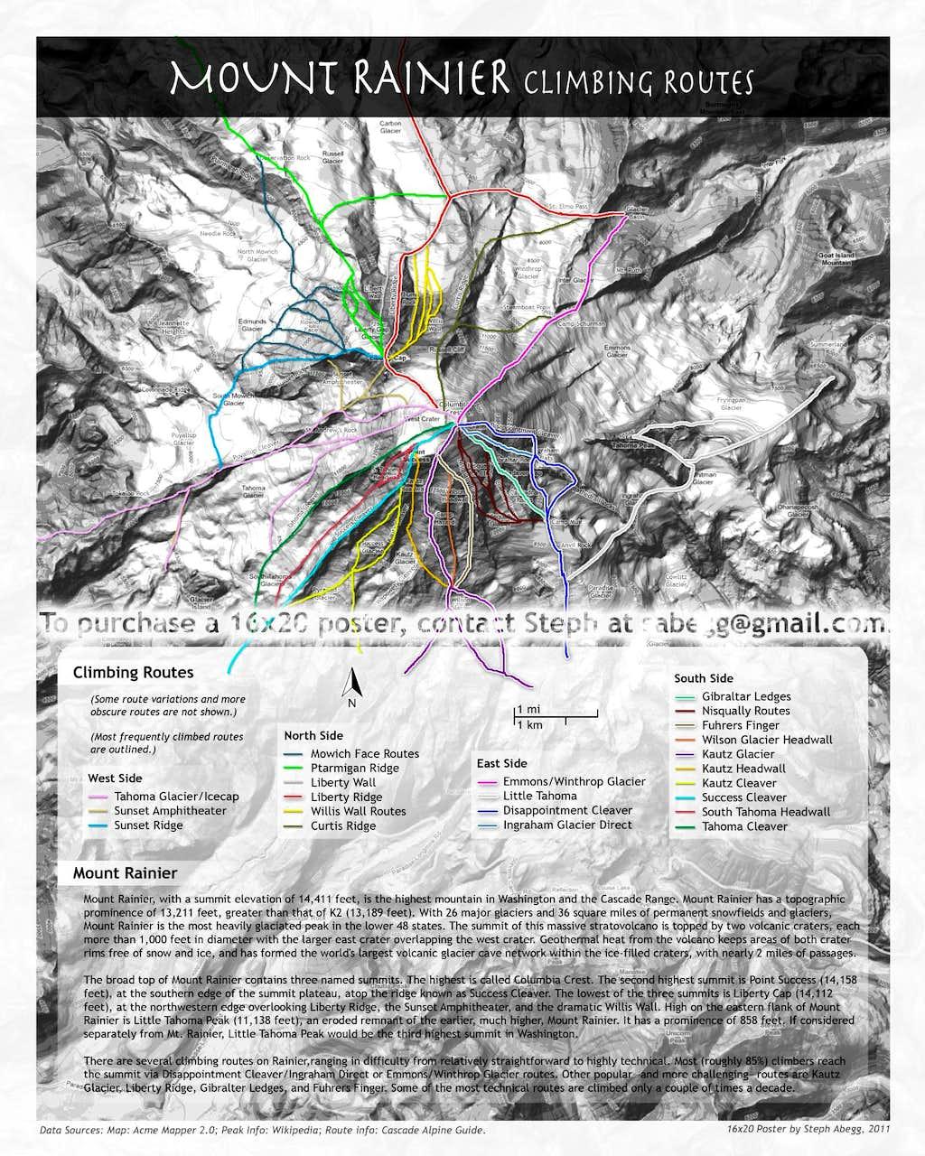 Mt Rainier Climbing Routes   Photos  Diagrams   Topos