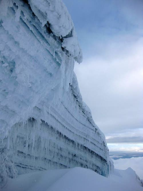Vertical ice high on Cotopaxi