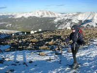 Quandary Peak in Winter with Mountain Goats