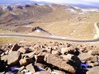 The Pikes Peak Highway below