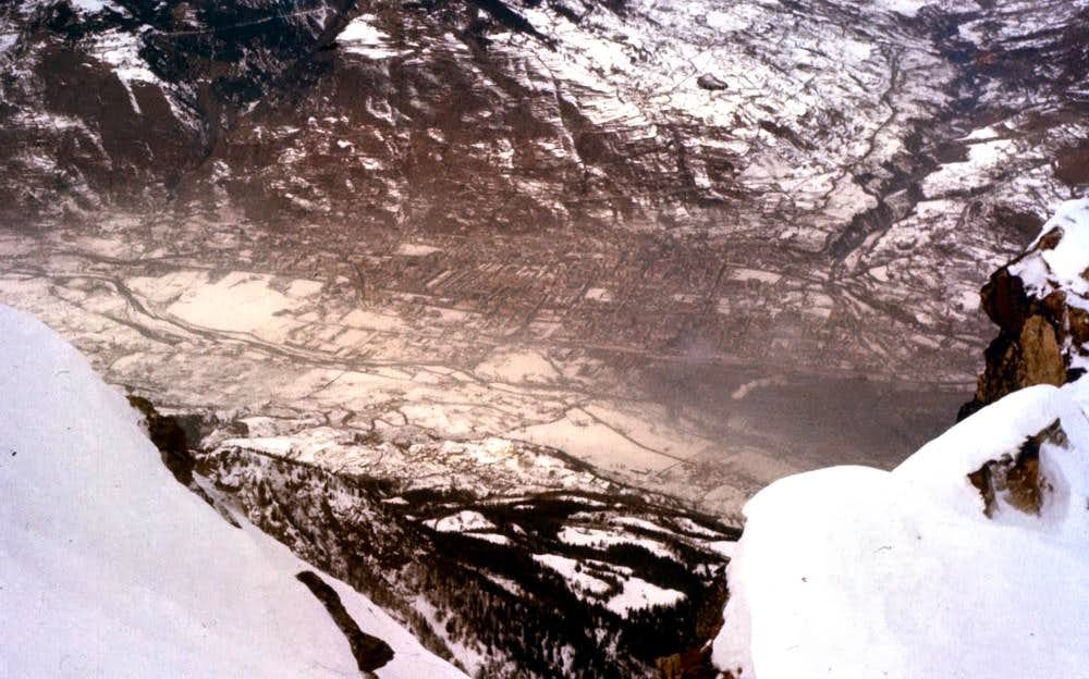 From  BECCA of NONA (3142m) to AOSTA TOWN Winter 1977