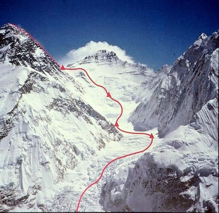 The 1980 winter ascent route on Mount Everest