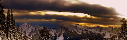 Sunset Panorama on Mount Rainier