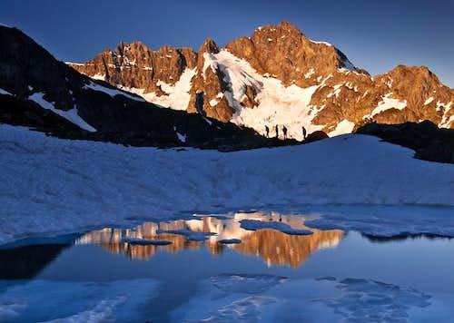 Climbers at Kool-Aid Lake