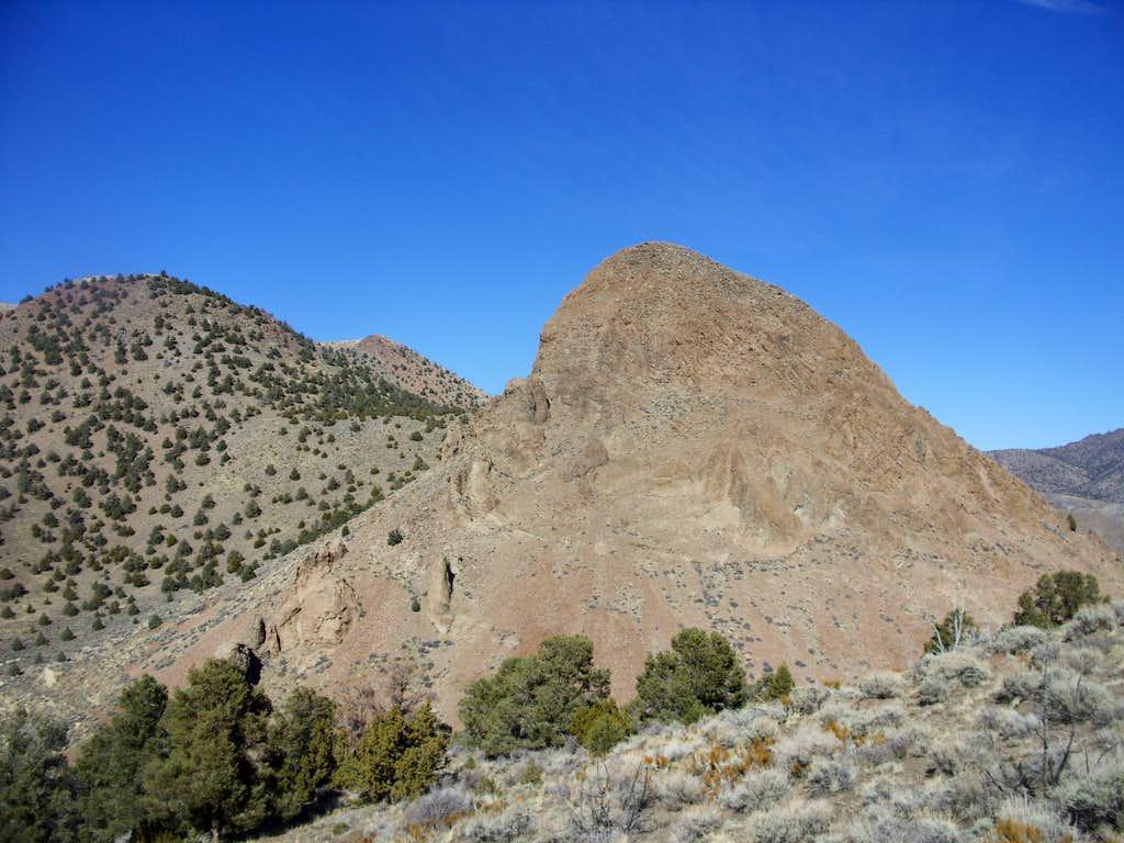 Sugarloaf rock formation seen while descending Emma Peak