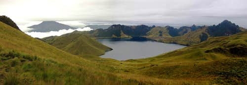 Mojanda lakes panorama, from the slopes of Fuya Fuya