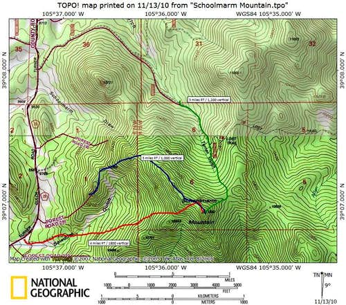 Schoolmarm Mountain Routes