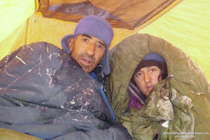 Samina Biag at High camp, first Pakistani woman winter expedition