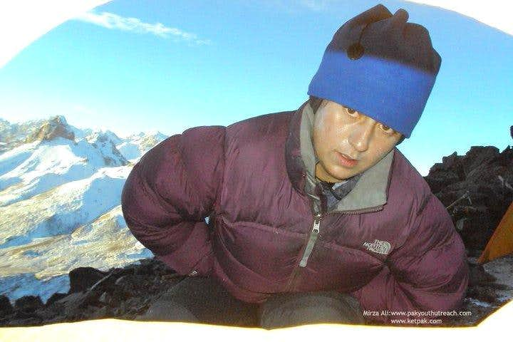 Samina Baig at High camp of Mingligh sar, first Paki,winter expedtion