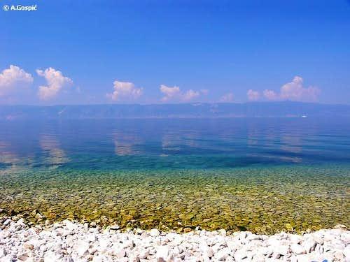 Water in the huge Ohridsko...
