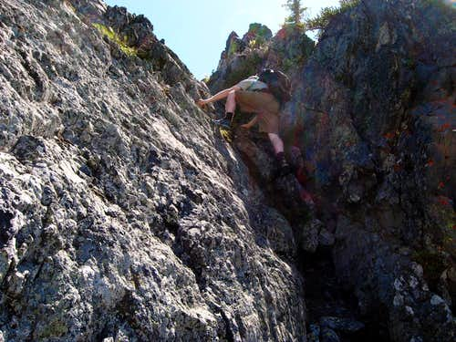 climbing the north gully of Volcanic Neck