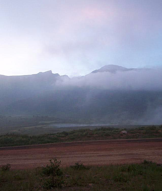 Mt. Bierstadt and the Sawtooth on a Foggy Morning