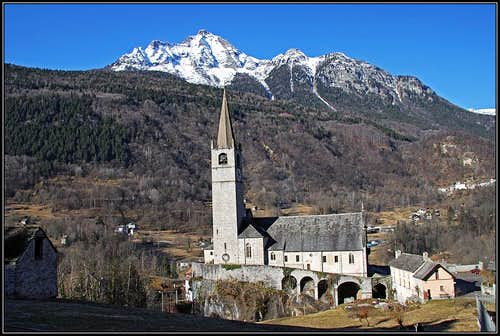 Baceno church and Monte Cistella