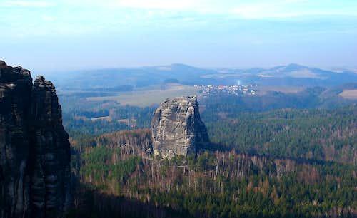 The Falkenstein, seen from the Schrammsteinaussicht