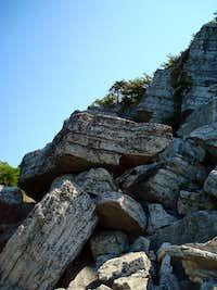 Rock scramble on the way up