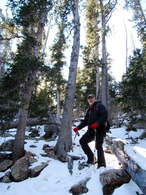 Dad descending Vigil's north slopes