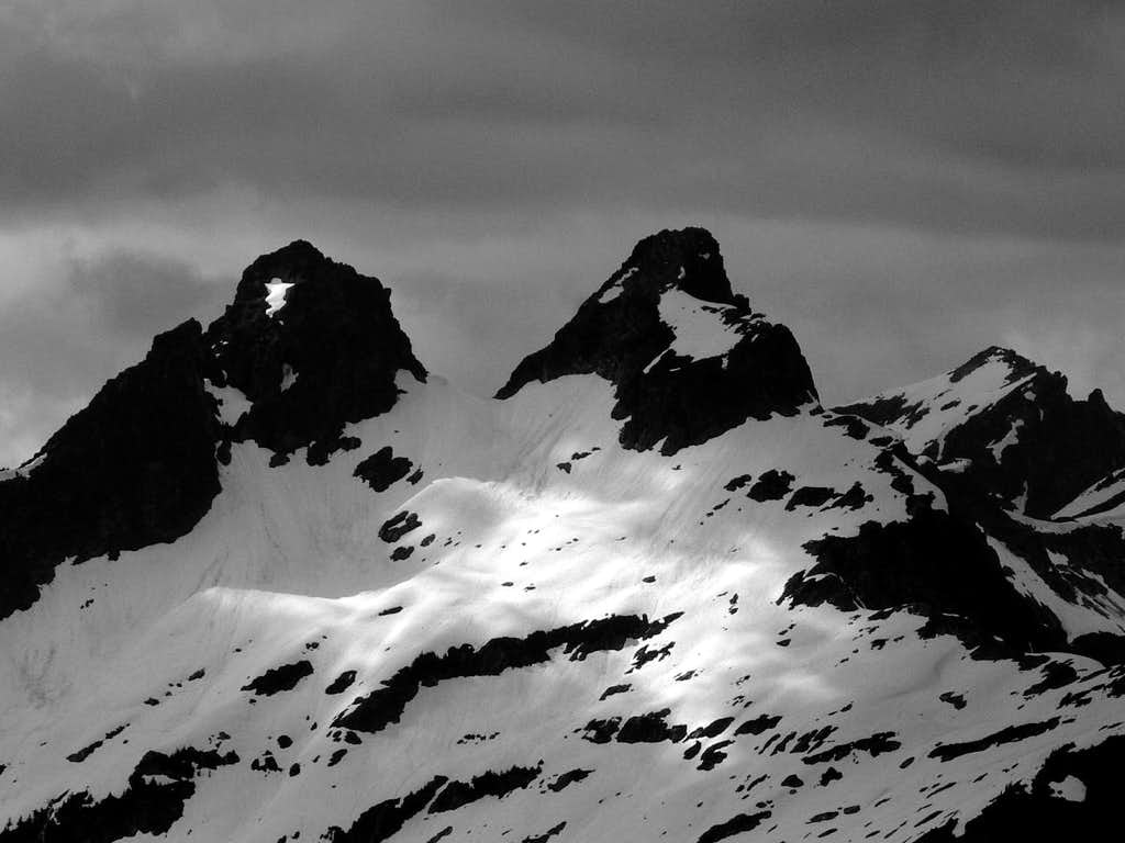 Sitting Bull Peak in black and White
