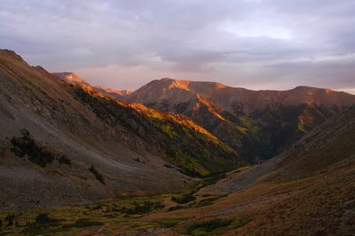 Sunrise, looking down Missouri Gulch