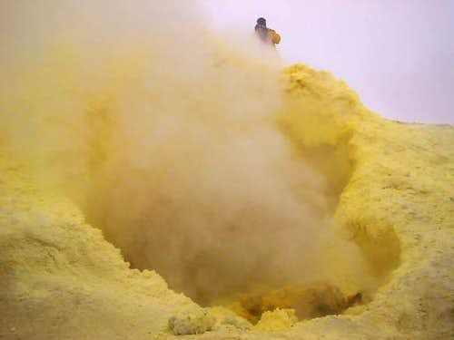 Sulphur steams come out from...