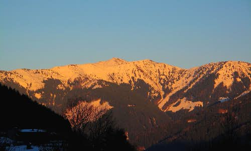 Evening view to Hundstein (2117m) in the Dientener Berge