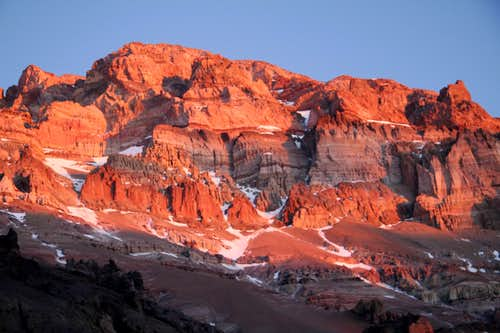 Sunset on Aconcagua west side - 6962 m