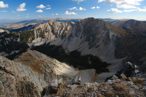 NW Ridge of Middle Truchas Peak, view NE
