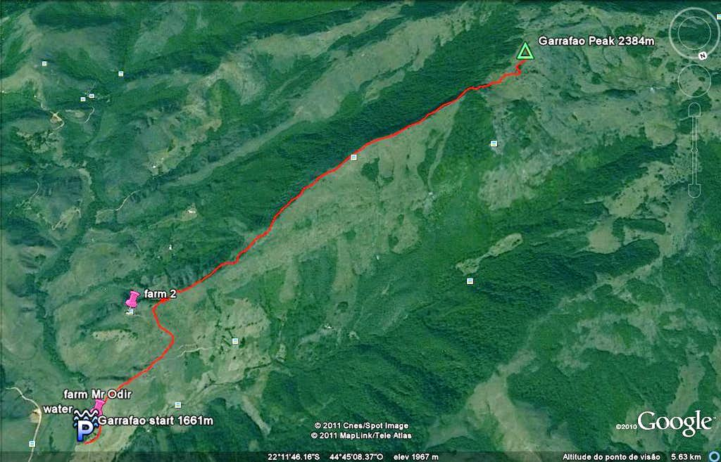 Sat view of the hike