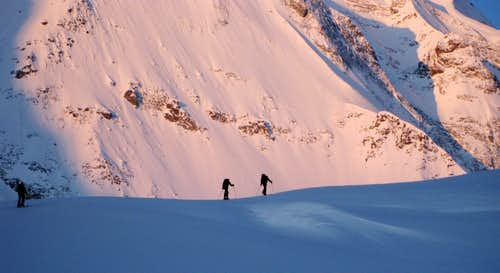Skiing in the morning light