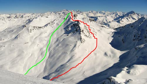 The ski route from